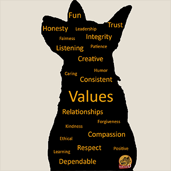 Dog Silhoutte with Values